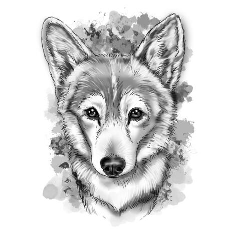Grayscale Watercolor Style Corgi Portrait of Your Pet from Photo - example