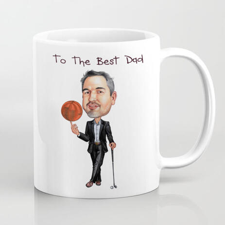 Photo Print on Mug: Personalized Cartoon Drawing of Father - example