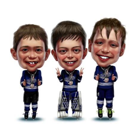 Kids Hockey Caricature from Photos - example