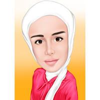 Карикатура женщины в хиджабе в цветном стиле с фотографии