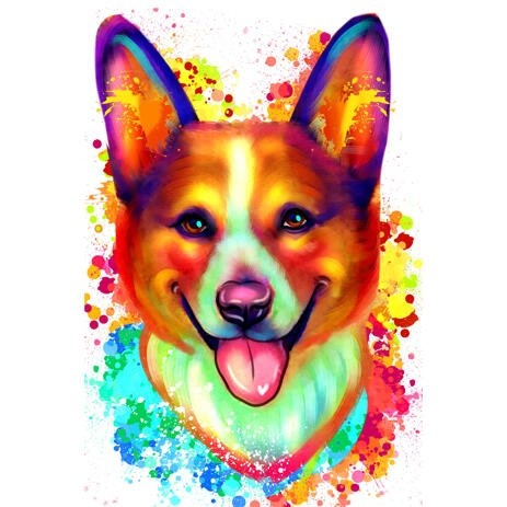 Head and Shoulders Corgi Caricature Painting Hand Drawn in Watercolor Style from Photo - example