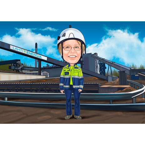 Person in Helmet and Work Clothes Cartoon Drawing with Custom Background from Photos - example