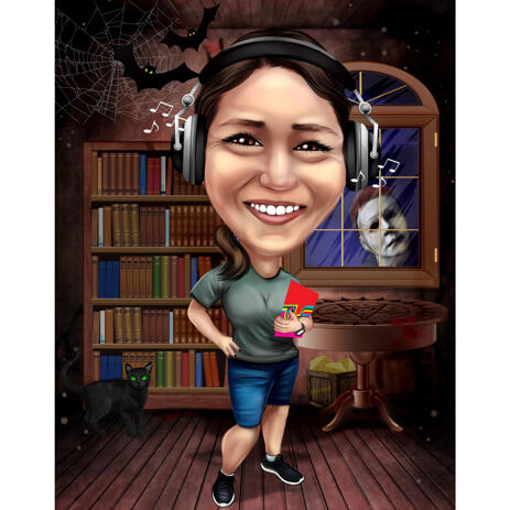 Full Body Single Person Caricature with Ghost in the Background for Halloween - example