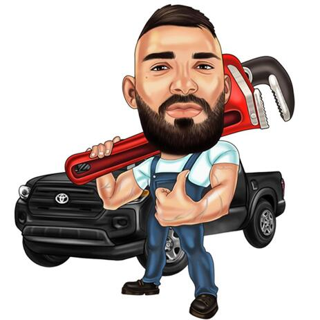 Mechanic Caricature from Photos for Custom Gift - example
