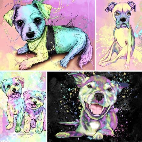 Fuld krop pastel akvarel hund portræt fra fotos med baggrund - example