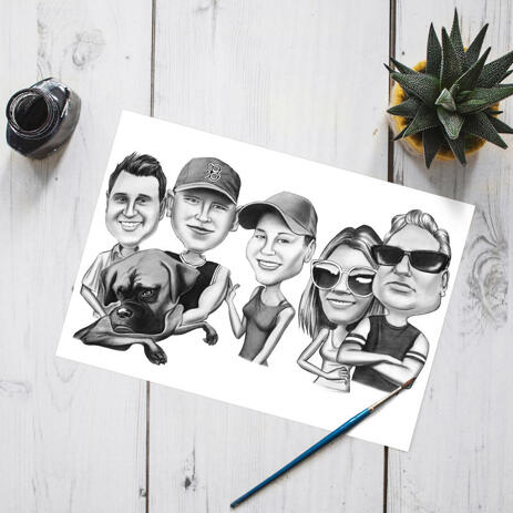 Exaggerated Group and Pet Caricature in Black and White Style on Poster - example
