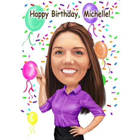 Birthday Cartoon Caricature with Balloons for Sister from Photos - example