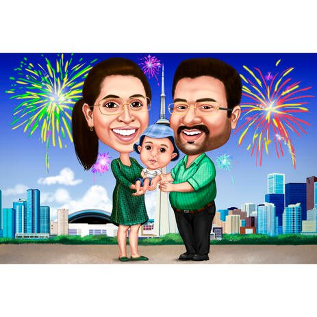Custom Drawing: Family with Baby and Fireworks in Background - example