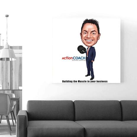 Employee Caricature on Canvas - example