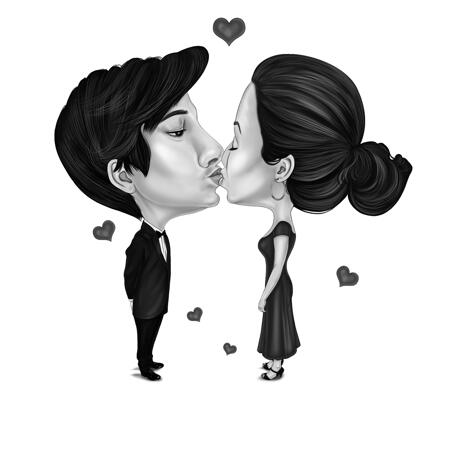 Couple Kiss Caricature in Funny Exaggerated Black and White Style from Photos - example