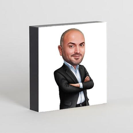 Business Group Caricature on Photo Block - example