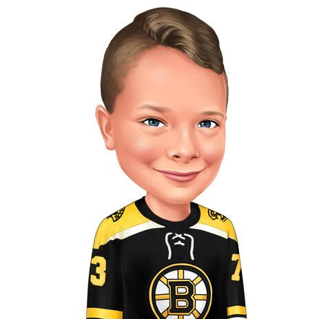Head and Shoulders Hockey Kid Caricature in Favorite Team Jersey from Photos - example