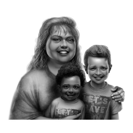 Mother with Two Kids Hand Drawn Portrait in Black and White Digital Style from Photos - example