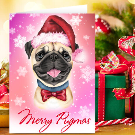 Custom Christmas Pet Caricature from Photo with Set of 10 Greeting Cards - example