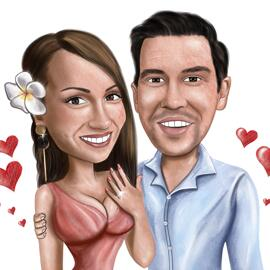 Engagement Couple Caricature from Photos for Anniversary Gift