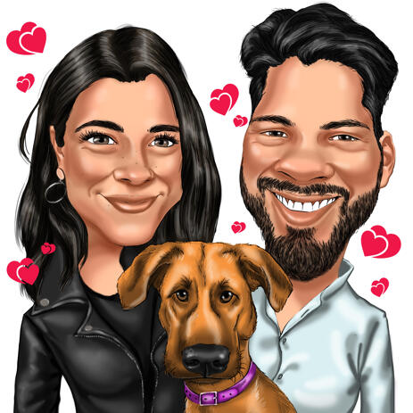 Couple with Pet Caricature from Photos with Heart Background - example