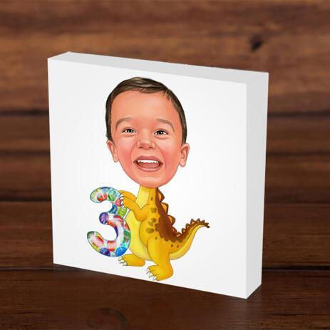 Birthday Children Caricature on Photo Block - example