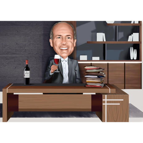 Business Administrator Colored Style Caricature for Custom Career Man Gift from Photos - example