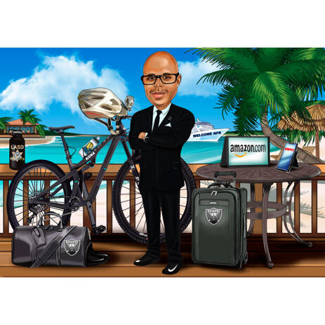 Businessman Vacation Caricature in Color Style on Custom Background - example