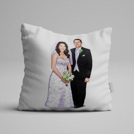 Wedding Portrait Printed on Pillow - example