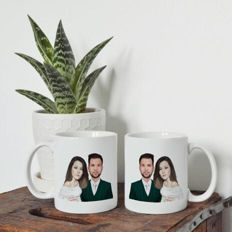 Bride and Groom Portrait as Wedding Gift on Mug - example