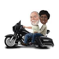 Par på motorcykelkarikatyr i färgstil från foton