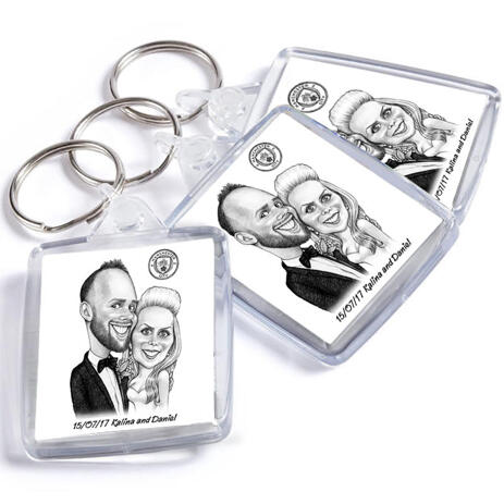 Bride and Groom Caricature on Keyrings - example