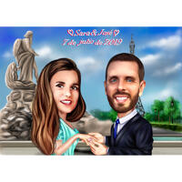 Tête et épaules Couple Caricature de fiançailles avec fond personnalisé