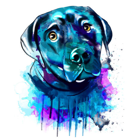Watercolor Labrador Portrait from Photo Hand Drawn in Blue Color Theme - example