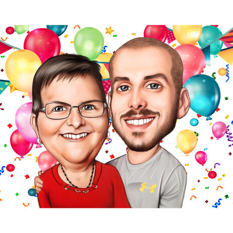 Mother with Son Caricature in Color Style for Best Mom Birthday Anniversary Gift - example