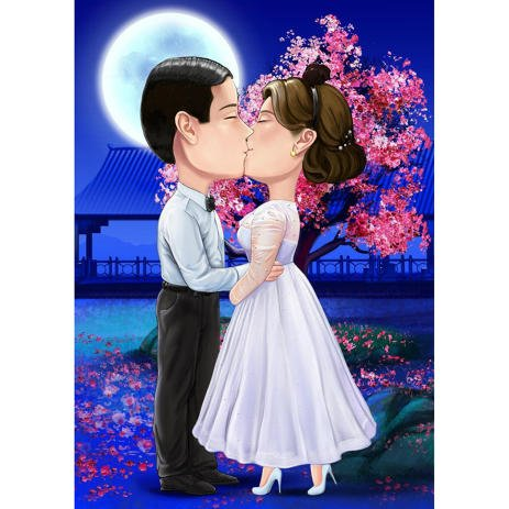 Anime Style Wedding Couple Caricature from Photos - example