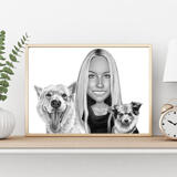 Owner with Pets Caricature on Poster