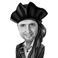 Kopf und Schultern Piratenkapitän Cartoon Karikatur im Schwarz-Weiß-Stil