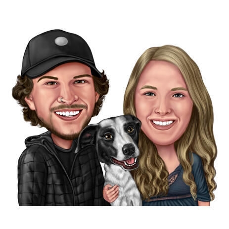 Two Persons and Dog Caricature in Digital Color Style from Photos - example