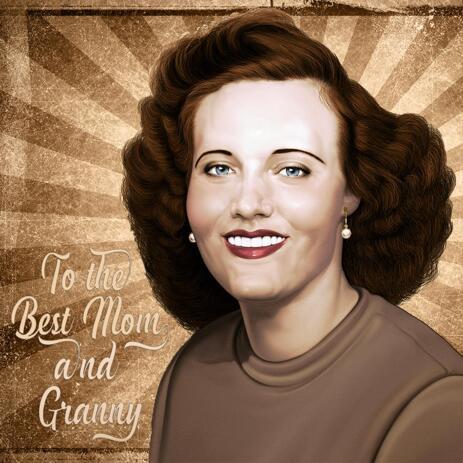 Original Digital Retro Portrait from Photo in old School Design - example