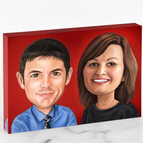 Corporate Caricature on Photo Block - example
