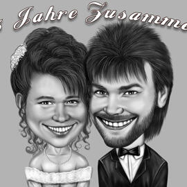 Wedding Couple Cartoon Drawing in Black and White Digital Style
