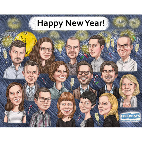Corporate Group Caricature: Happy New Year! - example