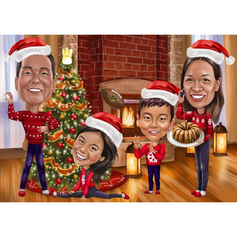 Family Caricature with Christmas Tree and Fireplace Background for Card Gift - example