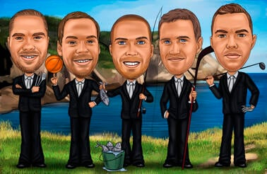 Fishing Groomsmen Caricature from Photos