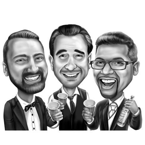 Men in Suit Group Caricature from Photos in Black and White Style - example