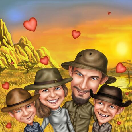 Safari Family Caricature from Photos: Custom Family Portrait - example