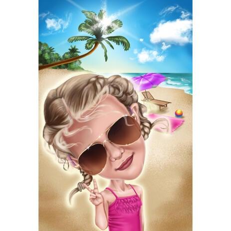 Caricatura di bambini in vacanza dalle foto con sfondo di raggi di sole sulla spiaggia - example