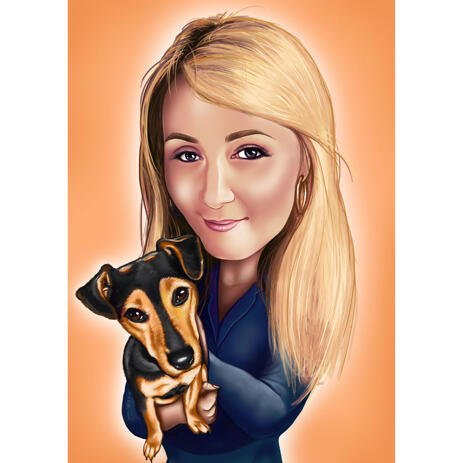Owner with Pet Caricature with Colored Background - example