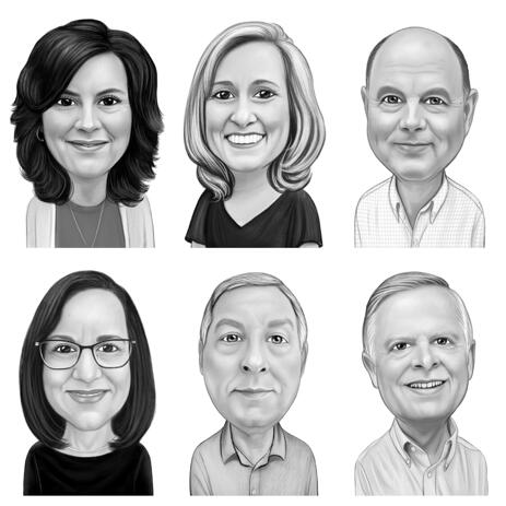 Company Caricatures for All Employees - Separate Black and White Drawings - example