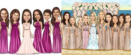 Caricatura de damas de honor