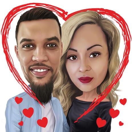 Цветная карикатура пары изображенной в сердце, для подарка в день Святого Валентина. - example