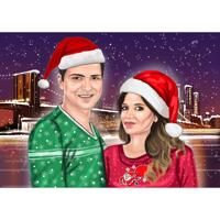Christmas Couple Portrait from Photos with Custom Background