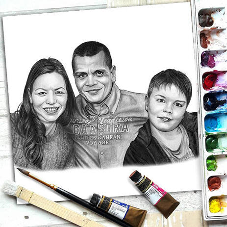 Family Portrait Hand Drawn in Pencil Style from Photos as Poster Print Gift - example