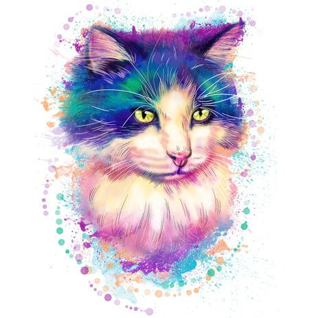 Portrét malování akvarelem kočkou - vlastní kočičí umění - example